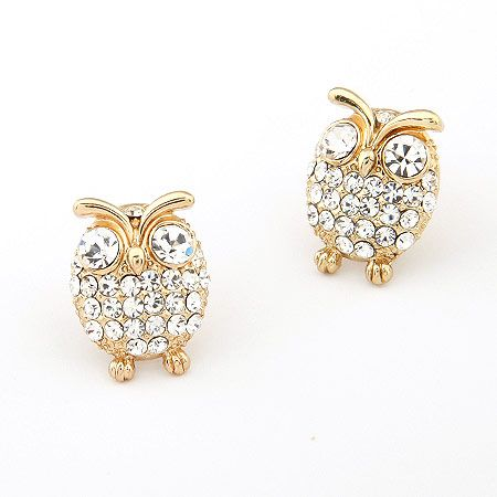 EXQUISITE gem lovely owl ear studs 195067