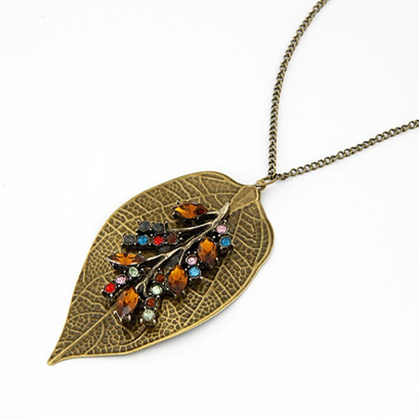 vintage Multi-color leaves sweater chain 195435