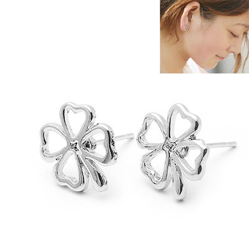 Classic lady Concise lucky four - leaf clover ear studs 156396
