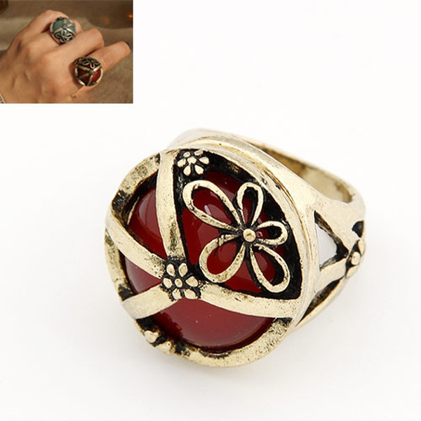 The carved inlaid gemstone rings 185674