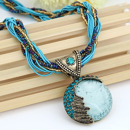 Vintage Mediterranean love necklace  blue  187404