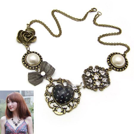 Beads and hollow out beads necklace 173670