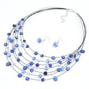 Elegant easy match shell imitated crystal multilayer necklace  earrings  set  210707