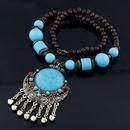 Occident fashion  Bohemian style big blue gem  long necklace blue  210705