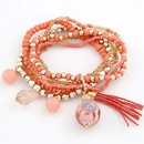 orange   lady wear  easy match mix Bohemian style rice beads tassel multilayer bracelet 210660