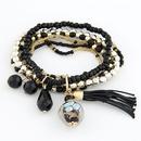 black   lady wear  easy match mix Bohemian style rice beads tassel multilayer bracelet 210656