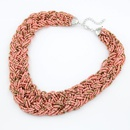 Handmade  Bohemian style  easy match rice beads weave necklace  pink  210493