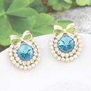EXQUISITE Sweet gem bowknot ear studs  sea blue  209545