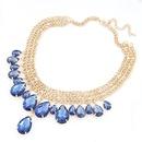 Luxury bright sapphire gem tear drop weave short  necklace 207283
