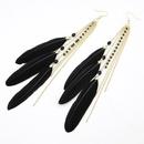 Pretty gem tassel fascinated feather earrings black 200641