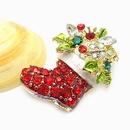 Pop star fashion Christmas boots brooch  with full rhinestone 178007