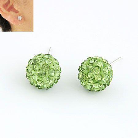 Sweet gem embedded dazling ball unique ear studs ( peridot ) 211204