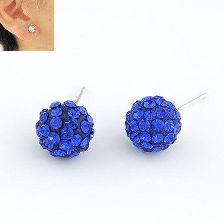 Sweet gem embedded dazling ball unique ear studs ( sapphire blue ) 211205