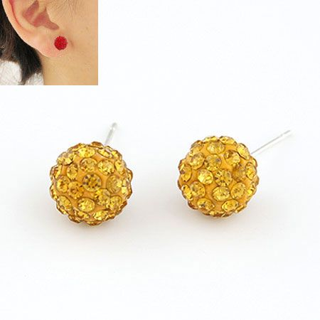 Sweet gem embedded dazling ball unique ear studs ( yellow ) 211207
