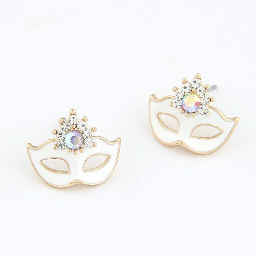 EXQUISITE Classic  unique ear studs ( white ) 211154