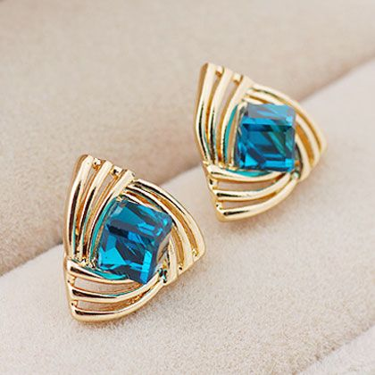 EXQUISITE alloyen triangle imitated crystal unique ear studs ( sea blue ) 210794