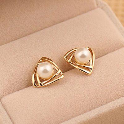 EXQUISITE alloyen triangle Beads ear studs 210780