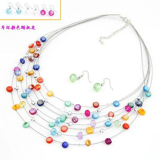 Elegant easy match shell imitated crystal multilayer necklace earrings  set  210706