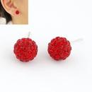 Sweet gem embedded dazling ball unique ear studs  red  211210