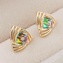 EXQUISITE alloyen triangle imitated crystal unique ear studs  colorful  210793