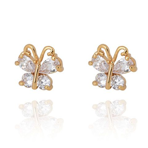 Alloy Sweet the butterfly Cubic Zirconia ear studs ( white ) 211724
