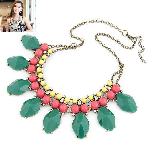 Occident fashion luxury fluorescen color rhinestone gem short necklace 211625