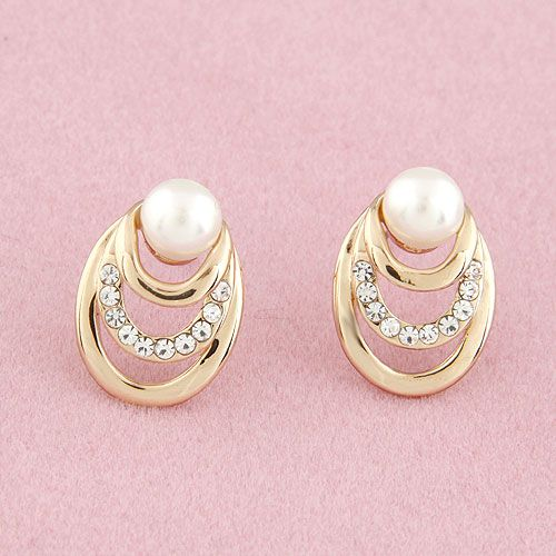 EXQUISITE Sweet concise line Beads ear studs 211526