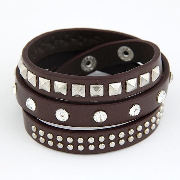 Delicate multi-layer silve color studded weave leather bracelet ( dark coffee ) 211260