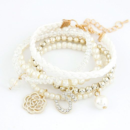 Sweet gem embedded 5 lettes flower easy match multilayer bracelet  white  211256