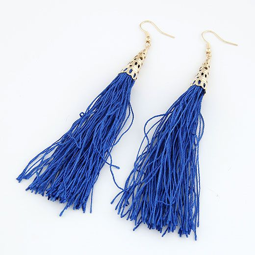 ( sapphire blue ) Fashion show bohemia style hollow out alloy color metal and long tassel earrings 211249
