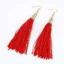 red  Fashion show bohemia style hollow out alloy color metal and long tassel earrings 211250
