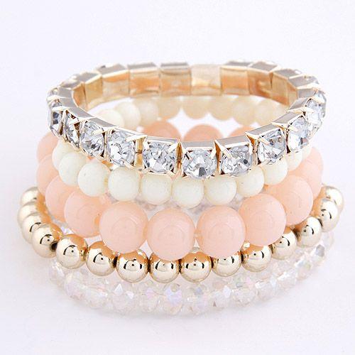 Occident fashion pure color sweet gem multi-layer bracelet 207246