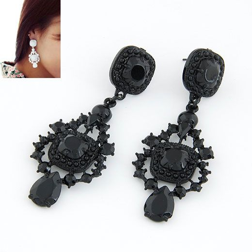 Occident fashion fluorescent olor palace style ear studs ( black ) 211834