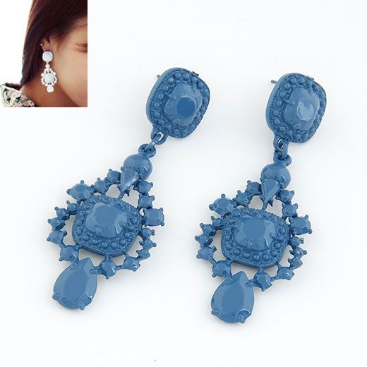 Occident fashion fluorescent olor palace style ear studs ( blue ) 211833