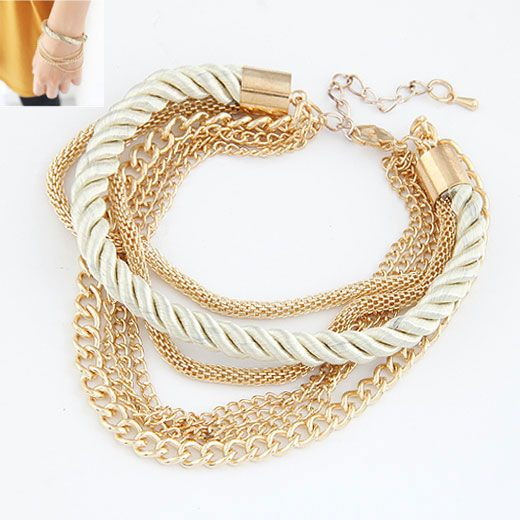 Modest simple weave cord and alloy color chain multi-layer bracelet ( white ) 211798