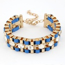 Sapphire  Occident fashion brand alloy color metal chain and cord weave gem  bracelet 211835