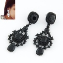 Occident fashion fluorescent olor palace style ear studs  black  211834