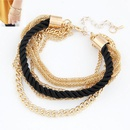 Modest simple weave cord and alloy color chain multilayer bracelet  black  211797