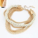 Modest simple weave cord and alloy color chain multilayer bracelet  white  211798