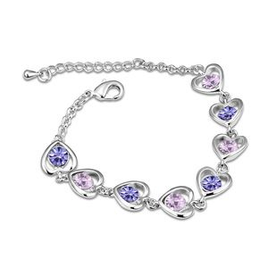 Austrian imitated crystal bracelet - Heart with management ( Pale pinkish purple ) 12796