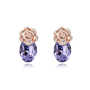 Austrian imitated crystal earrings - Rose is about ( Pale pinkish purple ) 12742