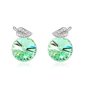 Austrian imitated crystal earrings - Leaf s Story ( Olive ) 12845