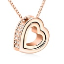 Austria Imitated crystal Necklace  Eternal love  White + Rose Alloy  12683