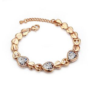 Austrian imitated crystal bracelet For love cordial (Champagne Alloy + White) 17202