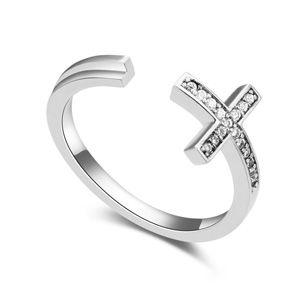 AAA-Micro Pave CZ Ring Love Cross (White) 17171