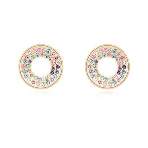 Austrian imitated crystal earrings Happiness circle(Color + champagne) 16848