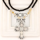 Occident fashion metal gem cross cat s eye black beads long necklace sweater chain 218298