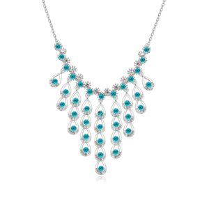Austrian imitated crystal necklace West legend (Blue Zircon) 17319