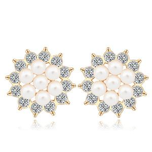 Austrian imitated crystal earrings Sunflower open (White) 17240