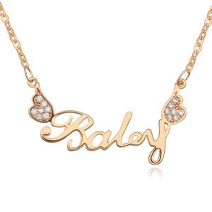 Necklace Micro Pave CZ AAA grade Wings White + champagne 17225
